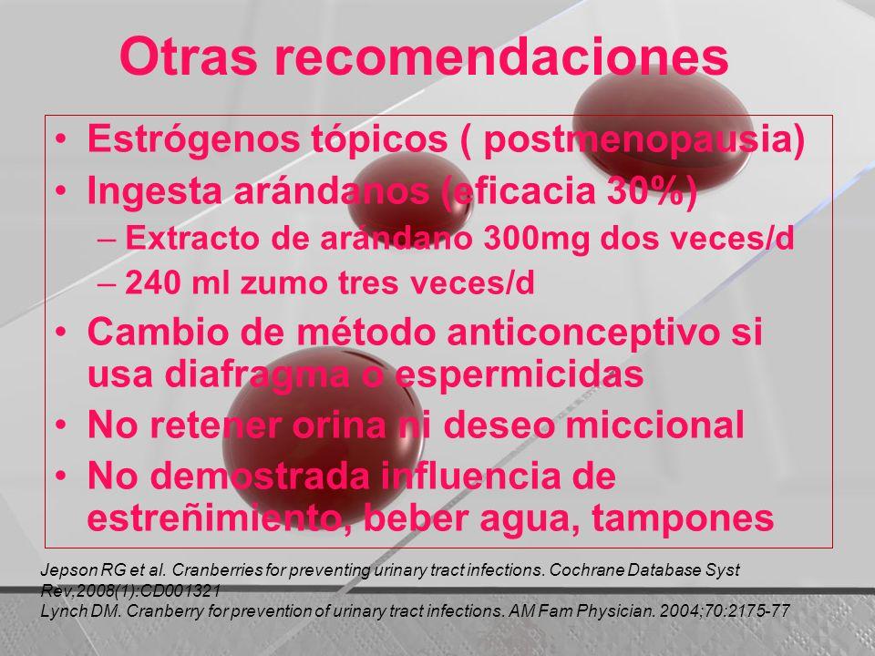 Otras recomendaciones Estrógenos tópicos ( postmenopausia) Ingesta arándanos (eficacia 30%) –Extracto de arándano 300mg dos veces/d –240 ml zumo tres