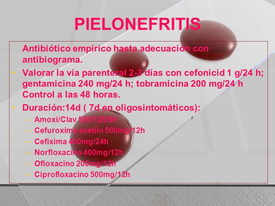 PIELONEFRITIS. Antibiótico empírico hasta adecuación con antibiograma. Valorar la vía parenteral 2-3 días con cefonicid 1 g/24 h; gentamicina 240 mg/2