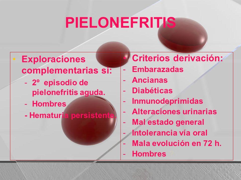 PIELONEFRITIS Exploraciones complementarias si: -2º episodio de pielonefritis aguda. -Hombres - Hematuria persistente. Criterios derivación: -Embaraza