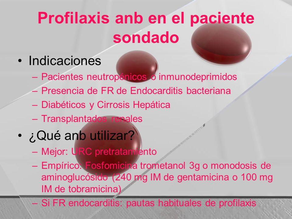 Profilaxis anb en el paciente sondado Indicaciones –Pacientes neutropénicos o inmunodeprimidos –Presencia de FR de Endocarditis bacteriana –Diabéticos