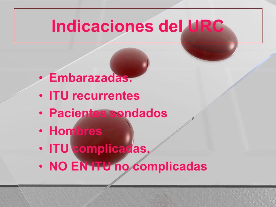 Indicaciones del URC Embarazadas. ITU recurrentes Pacientes sondados Hombres ITU complicadas. NO EN ITU no complicadas