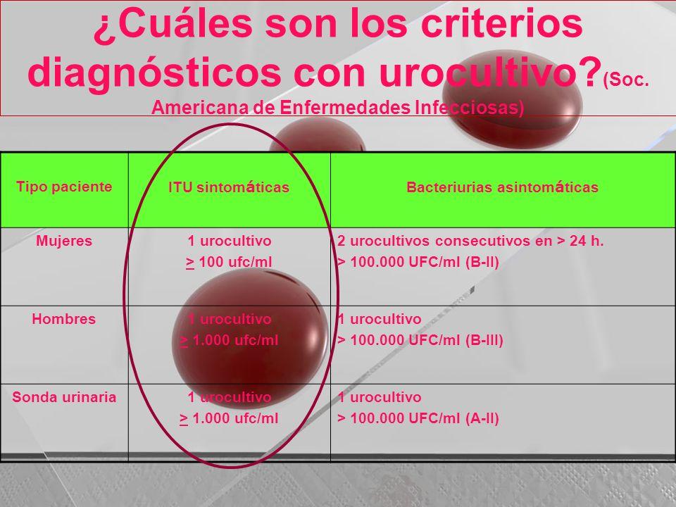 ¿Cuáles son los criterios diagnósticos con urocultivo? (Soc. Americana de Enfermedades Infecciosas) Tipo paciente ITU sintom á ticasBacteriurias asint
