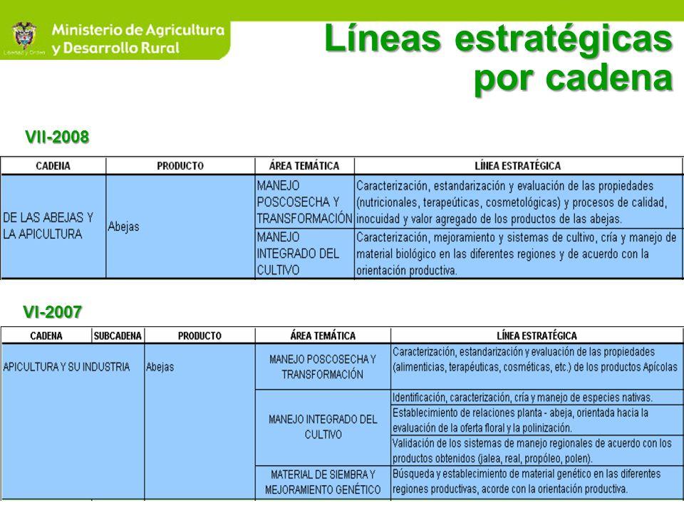 Líneas estratégicas por cadena VII-2008 VI-2007