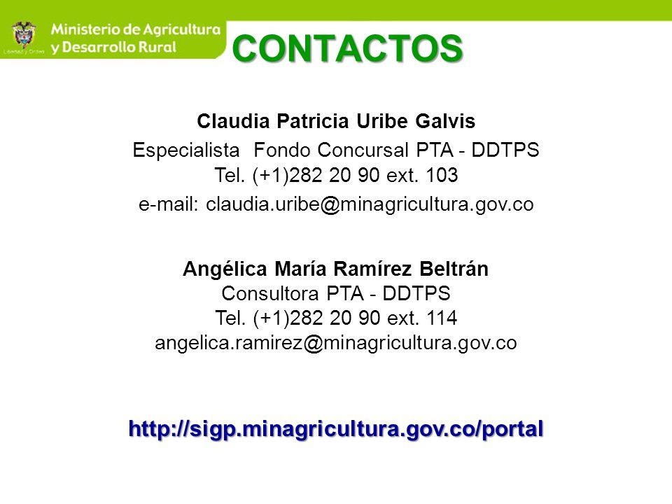CONTACTOS Angélica María Ramírez Beltrán Consultora PTA - DDTPS Tel. (+1)282 20 90 ext. 114 angelica.ramirez@minagricultura.gov.cohttp://sigp.minagric