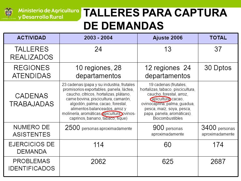 TALLERES PARA CAPTURA DE DEMANDAS ACTIVIDAD2003 - 2004 Ajuste 2006TOTAL TALLERES REALIZADOS 241337 REGIONES ATENDIDAS 10 regiones, 28 departamentos 12
