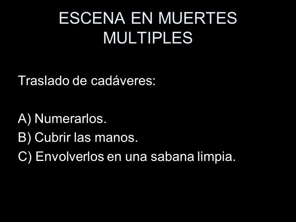 ESCENA EN MUERTES MULTIPLES Traslado de cadáveres: A) Numerarlos. B) Cubrir las manos. C) Envolverlos en una sabana limpia.
