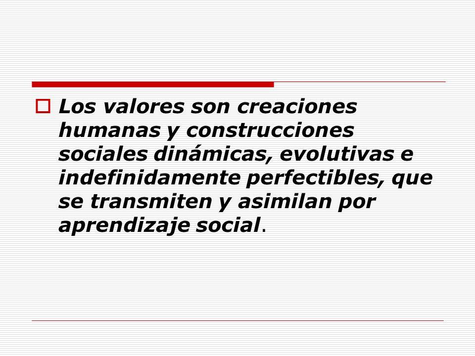 Los valores son creaciones humanas y construcciones sociales dinámicas, evolutivas e indefinidamente perfectibles, que se transmiten y asimilan por ap