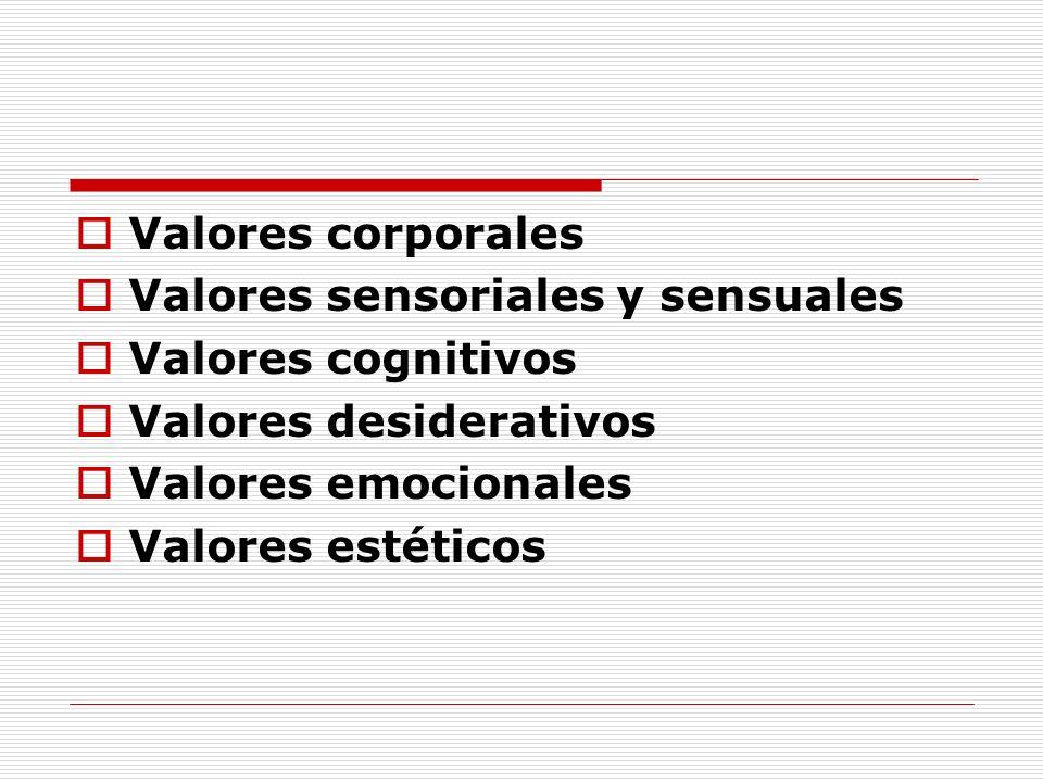 Valores corporales Valores sensoriales y sensuales Valores cognitivos Valores desiderativos Valores emocionales Valores estéticos