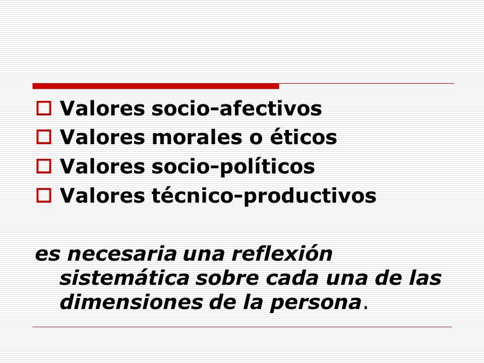 Valores socio-afectivos Valores morales o éticos Valores socio-políticos Valores técnico-productivos es necesaria una reflexión sistemática sobre cada