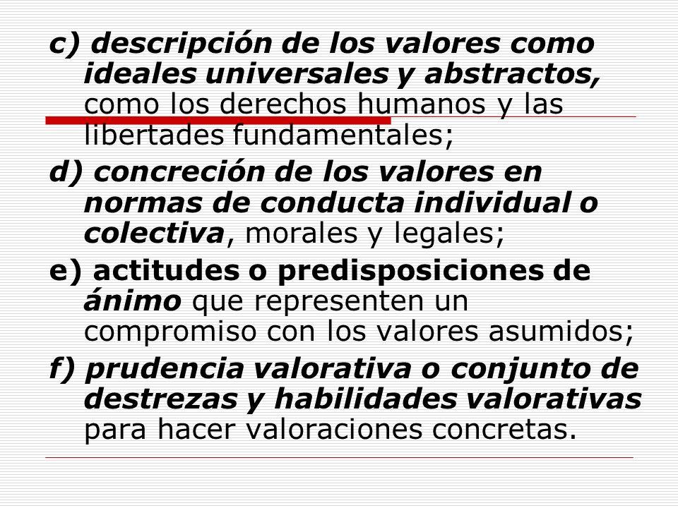 c) descripción de los valores como ideales universales y abstractos, como los derechos humanos y las libertades fundamentales; d) concreción de los va