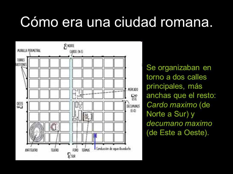 Cómo era una ciudad romana. Se organizaban en torno a dos calles principales, más anchas que el resto: Cardo maximo (de Norte a Sur) y decumano maximo
