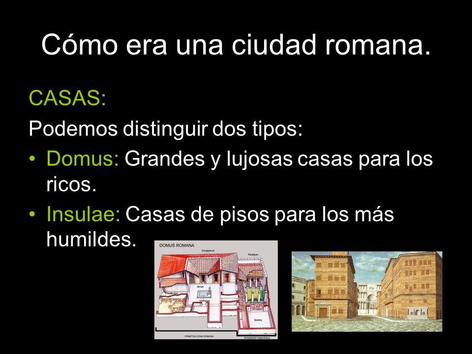 CASAS: Podemos distinguir dos tipos: Domus: Grandes y lujosas casas para los ricos. Insulae: Casas de pisos para los más humildes.