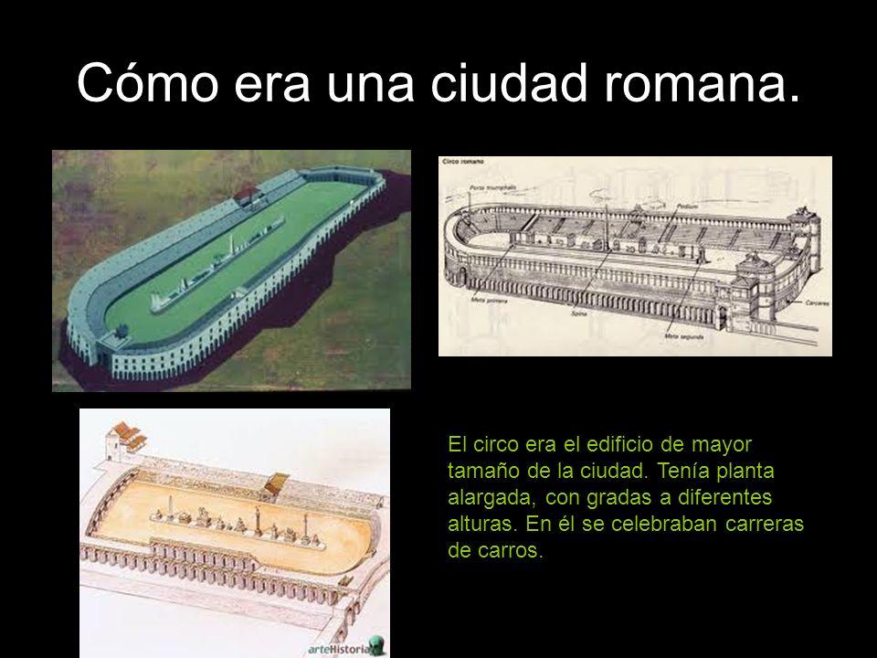 Cómo era una ciudad romana. El circo era el edificio de mayor tamaño de la ciudad. Tenía planta alargada, con gradas a diferentes alturas. En él se ce