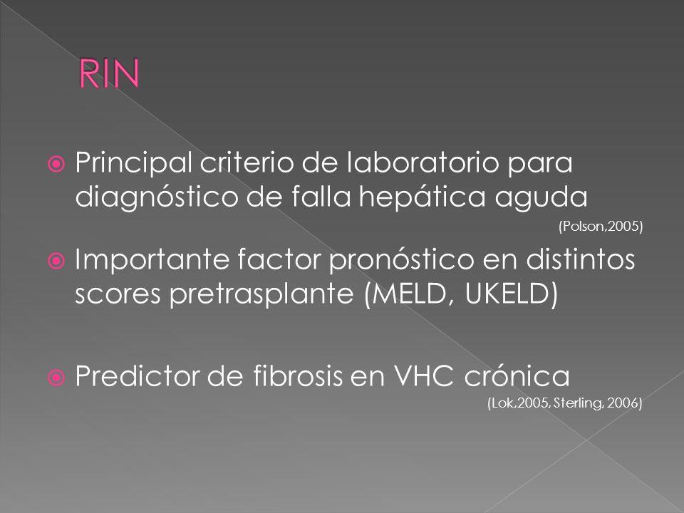 Principal criterio de laboratorio para diagnóstico de falla hepática aguda (Polson,2005) Importante factor pronóstico en distintos scores pretrasplant