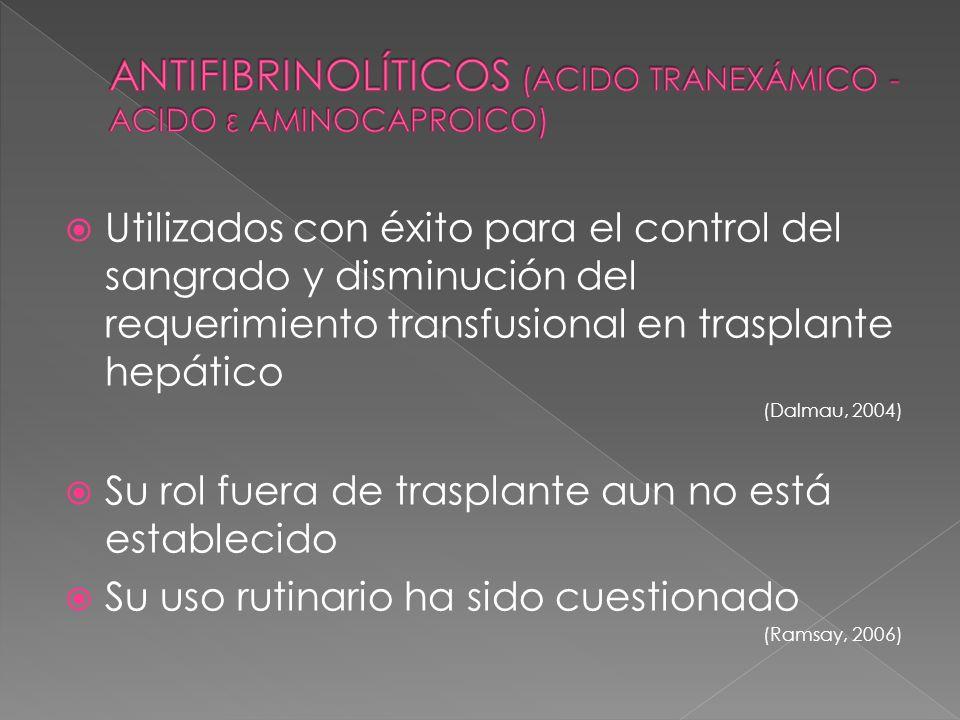 Utilizados con éxito para el control del sangrado y disminución del requerimiento transfusional en trasplante hepático (Dalmau, 2004) Su rol fuera de