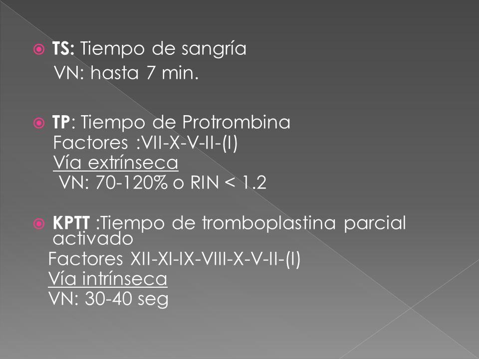 TS: Tiempo de sangría VN: hasta 7 min. TP : Tiempo de Protrombina Factores :VII-X-V-II-(I) Vía extrínseca VN: 70-120% o RIN < 1.2 KPTT :Tiempo de trom