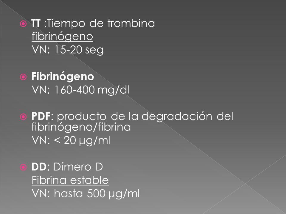 TT :Tiempo de trombina fibrinógeno VN: 15-20 seg Fibrinógeno VN: 160-400 mg/dl PDF : producto de la degradación del fibrinógeno/fibrina VN: < 20 μg/ml