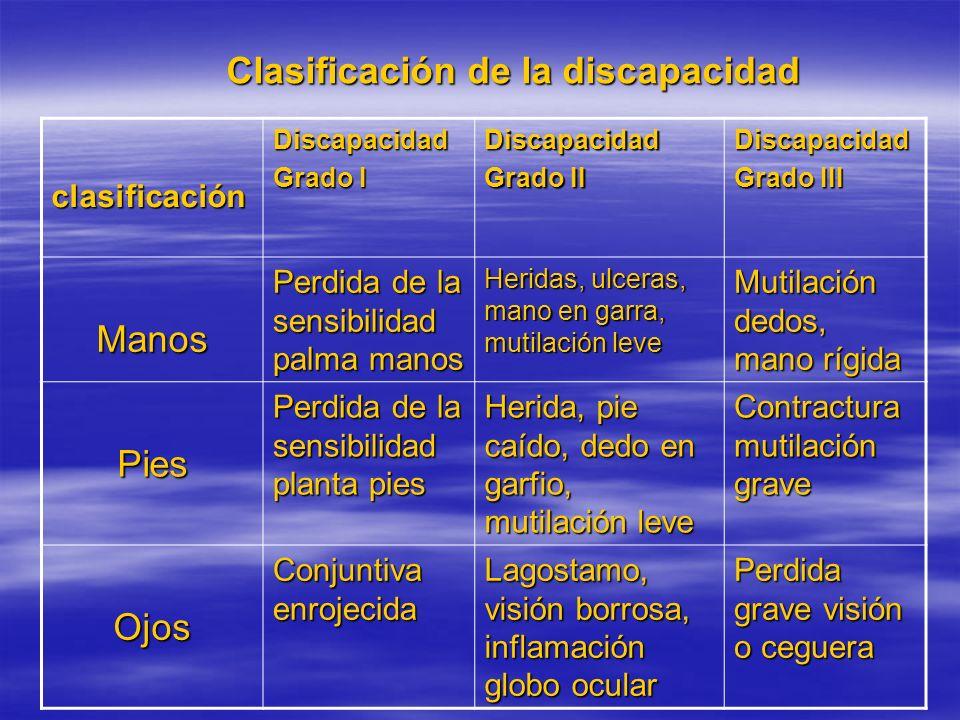 Clasificación de la discapacidad clasificaciónDiscapacidad Grado I Discapacidad Grado II Discapacidad Grado III Manos Perdida de la sensibilidad palma