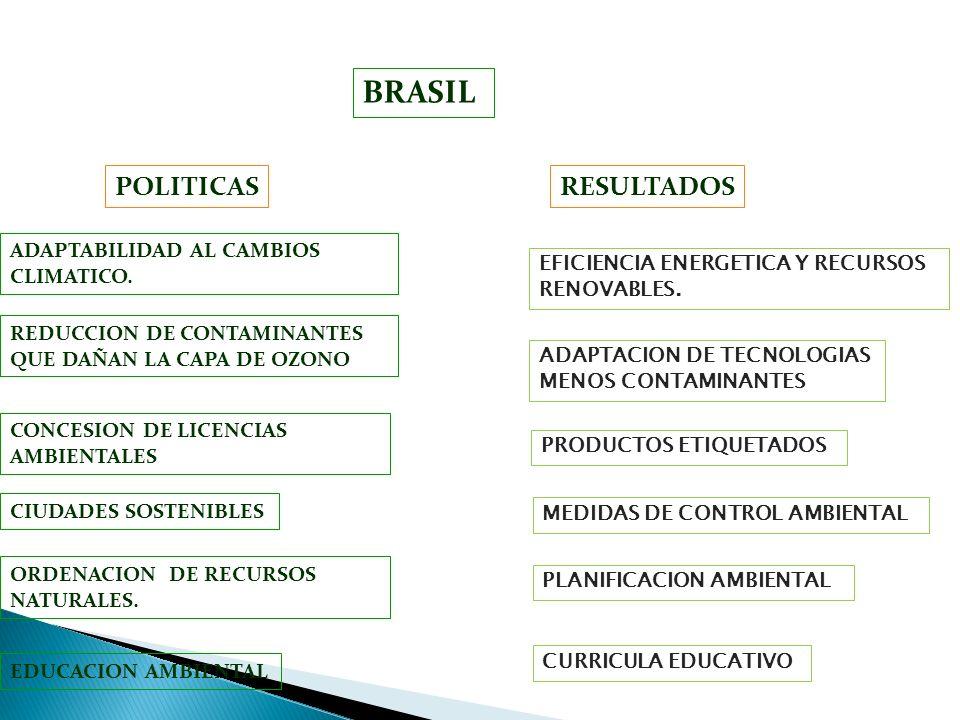 BRASIL RESULTADOS ADAPTABILIDAD AL CAMBIOS CLIMATICO. REDUCCION DE CONTAMINANTES QUE DAÑAN LA CAPA DE OZONO POLITICAS ADAPTACION DE TECNOLOGIAS MENOS