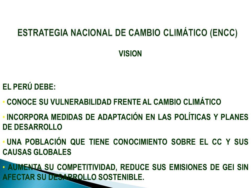 VISION EL PERÚ DEBE: CONOCE SU VULNERABILIDAD FRENTE AL CAMBIO CLIMÁTICO INCORPORA MEDIDAS DE ADAPTACIÓN EN LAS POLÍTICAS Y PLANES DE DESARROLLO UNA P