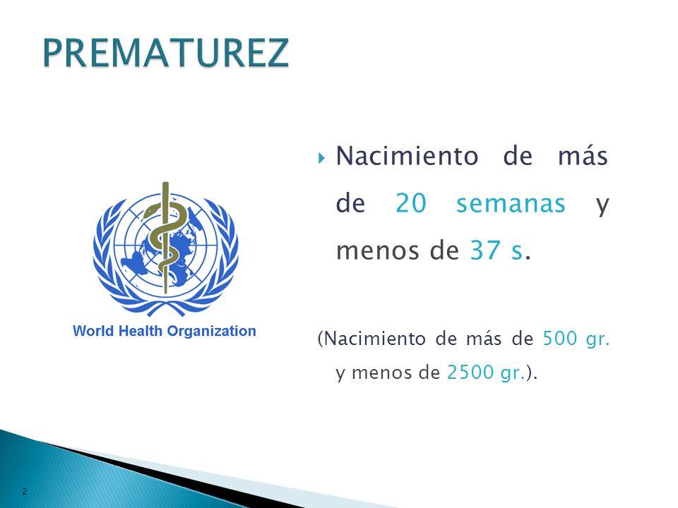Nacimiento de más de 20 semanas y menos de 37 s. (Nacimiento de más de 500 gr. y menos de 2500 gr.). 22