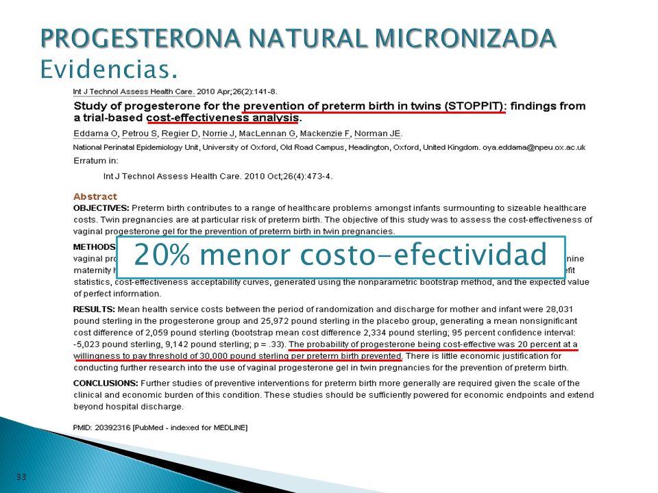 33 20% menor costo-efectividad