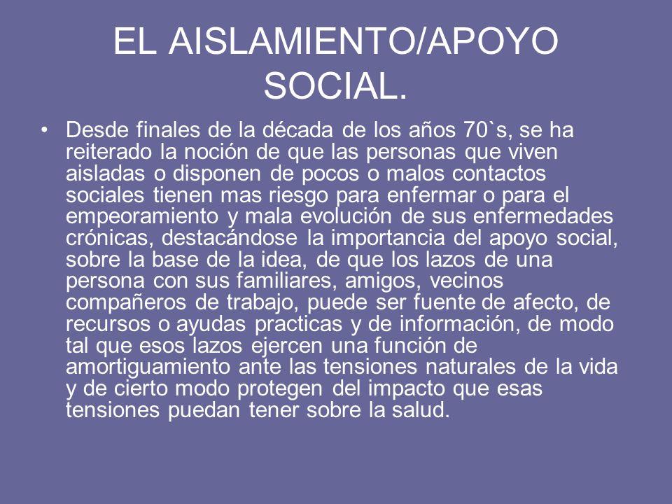 EL AISLAMIENTO/APOYO SOCIAL. Desde finales de la década de los años 70`s, se ha reiterado la noción de que las personas que viven aisladas o disponen