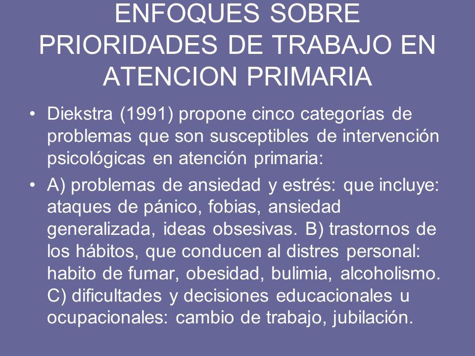 ENFOQUES SOBRE PRIORIDADES DE TRABAJO EN ATENCION PRIMARIA Diekstra (1991) propone cinco categorías de problemas que son susceptibles de intervención
