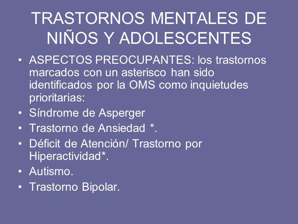 TRASTORNOS MENTALES DE NIÑOS Y ADOLESCENTES ASPECTOS PREOCUPANTES: los trastornos marcados con un asterisco han sido identificados por la OMS como inq