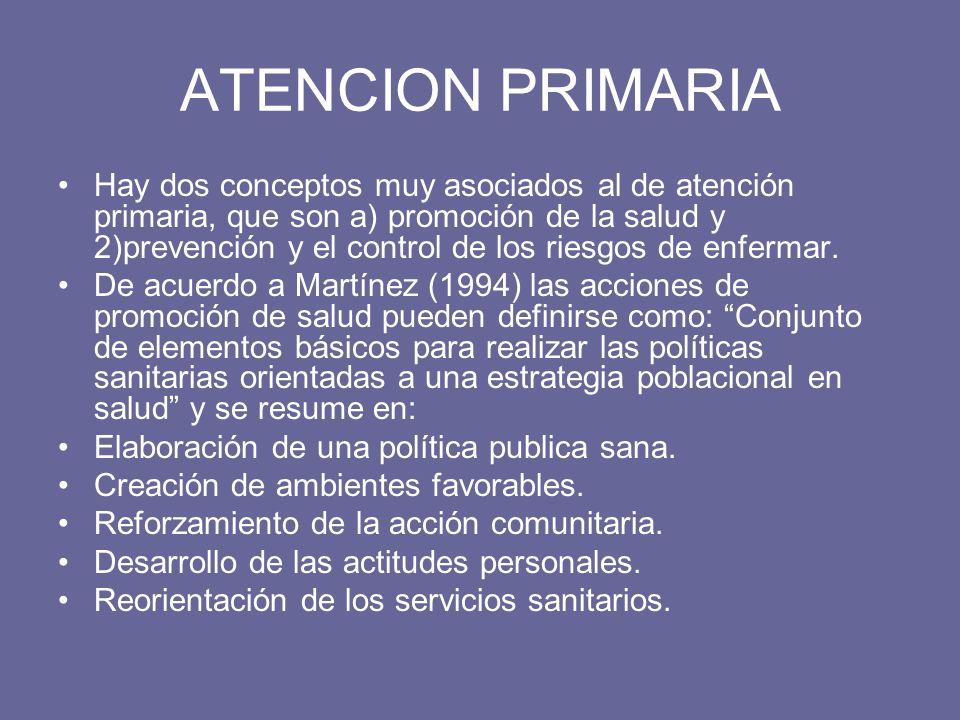 ATENCION PRIMARIA Hay dos conceptos muy asociados al de atención primaria, que son a) promoción de la salud y 2)prevención y el control de los riesgos