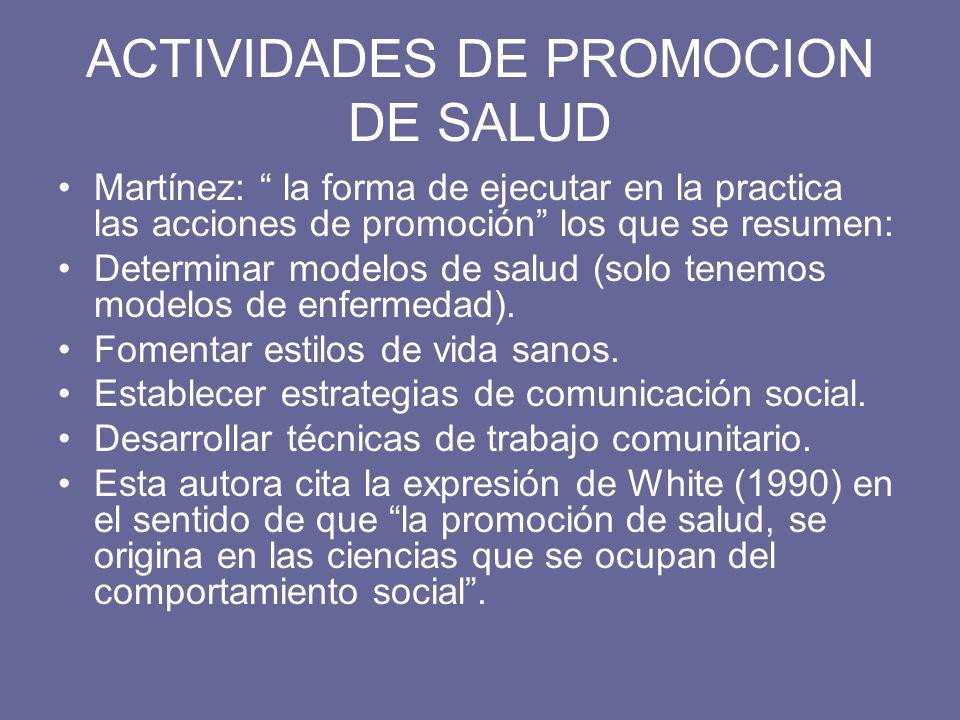 ACTIVIDADES DE PROMOCION DE SALUD Martínez: la forma de ejecutar en la practica las acciones de promoción los que se resumen: Determinar modelos de sa