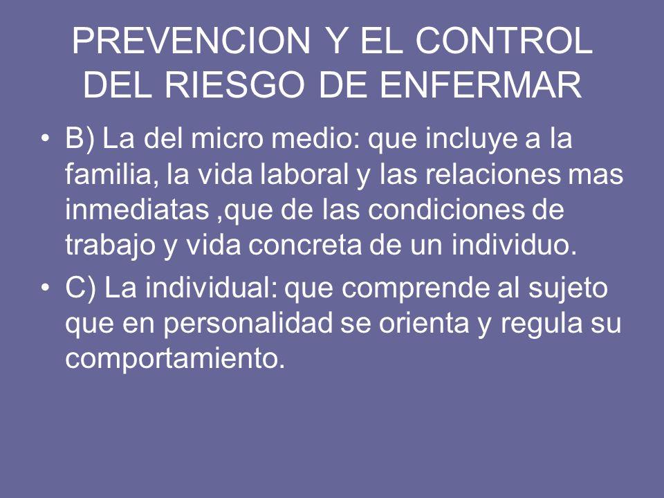 PREVENCION Y EL CONTROL DEL RIESGO DE ENFERMAR B) La del micro medio: que incluye a la familia, la vida laboral y las relaciones mas inmediatas,que de