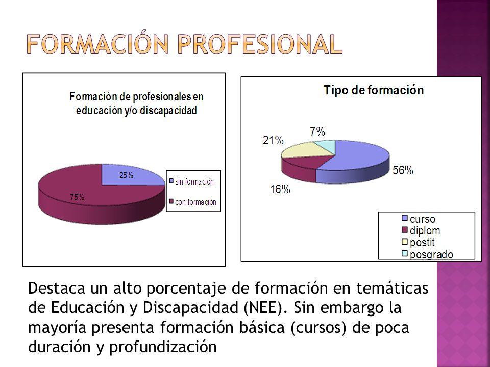 Destaca un alto porcentaje de formación en temáticas de Educación y Discapacidad (NEE). Sin embargo la mayoría presenta formación básica (cursos) de p
