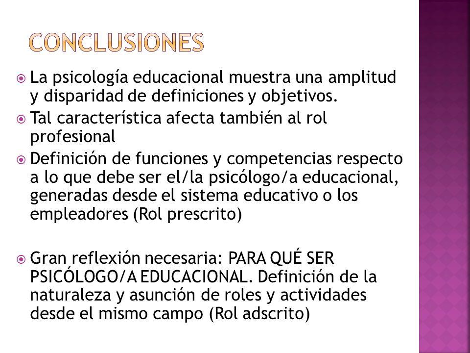 La psicología educacional muestra una amplitud y disparidad de definiciones y objetivos. Tal característica afecta también al rol profesional Definici