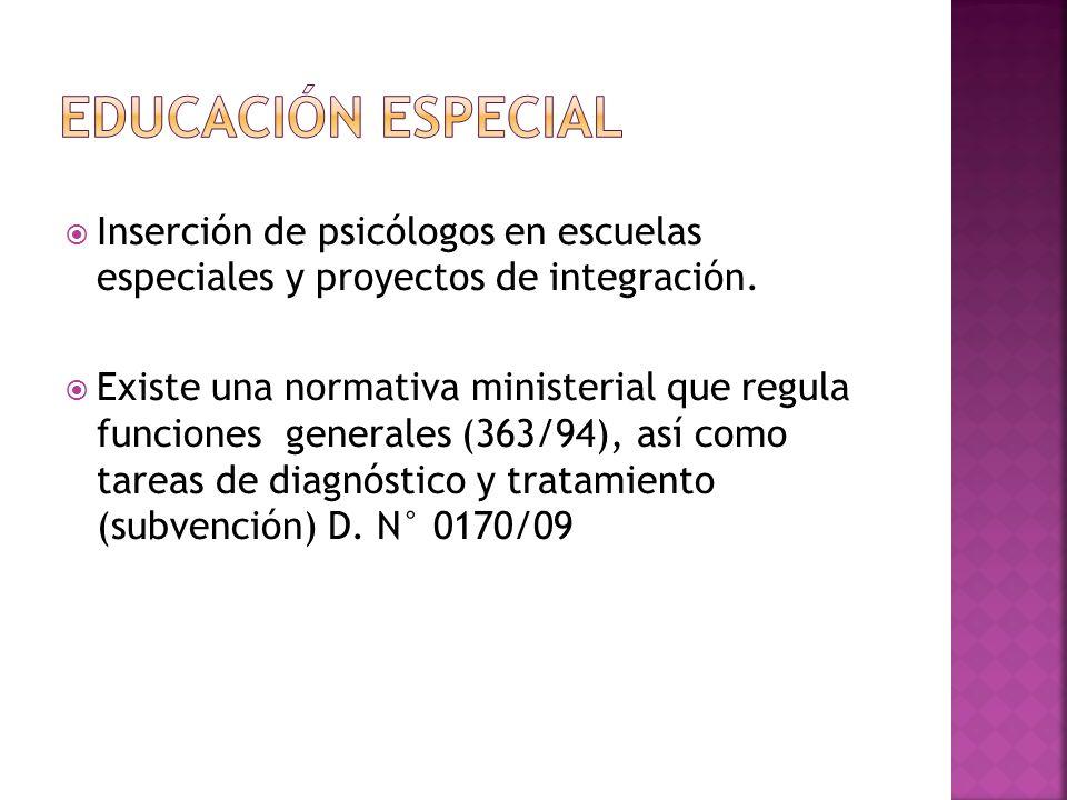 Inserción de psicólogos en escuelas especiales y proyectos de integración. Existe una normativa ministerial que regula funciones generales (363/94), a