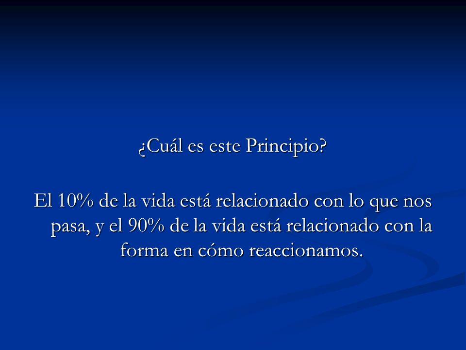 ¿Cuál es este Principio? El 10% de la vida está relacionado con lo que nos pasa, y el 90% de la vida está relacionado con la forma en cómo reaccionamo