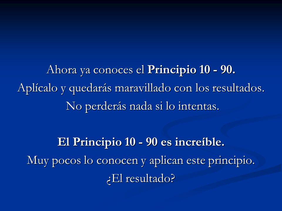 Ahora ya conoces el Principio 10 - 90. Aplícalo y quedarás maravillado con los resultados. No perderás nada si lo intentas. No perderás nada si lo int
