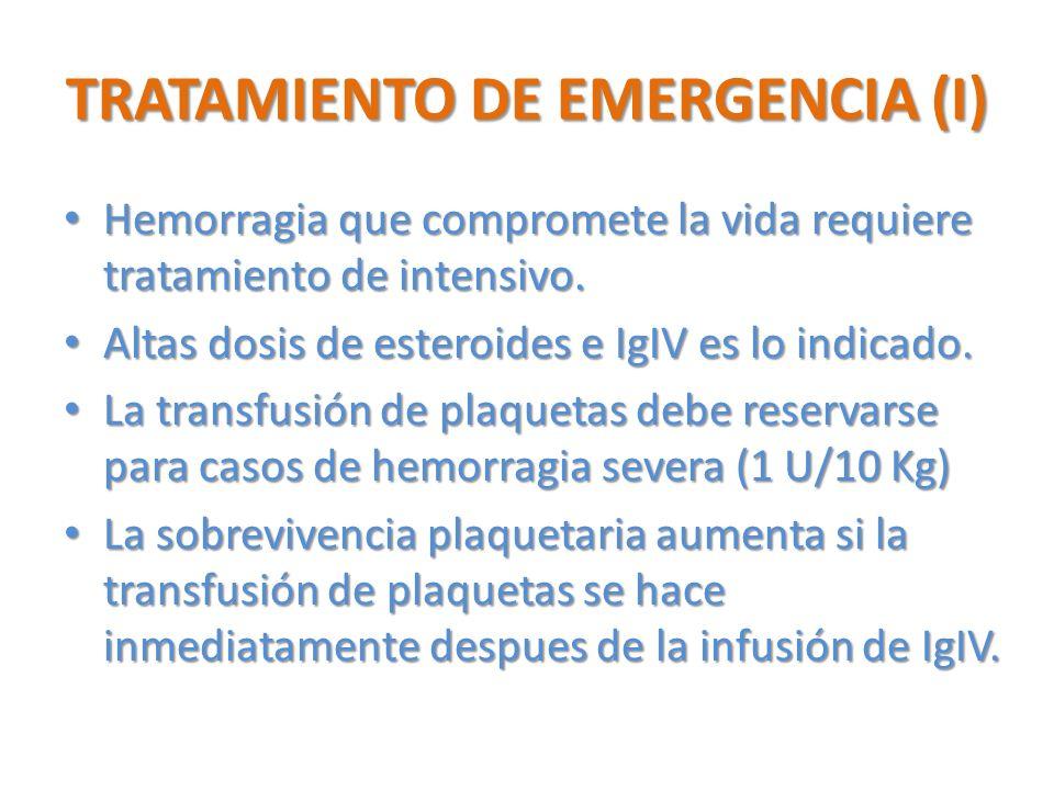 TRATAMIENTO DE EMERGENCIA (I) Hemorragia que compromete la vida requiere tratamiento de intensivo. Hemorragia que compromete la vida requiere tratamie
