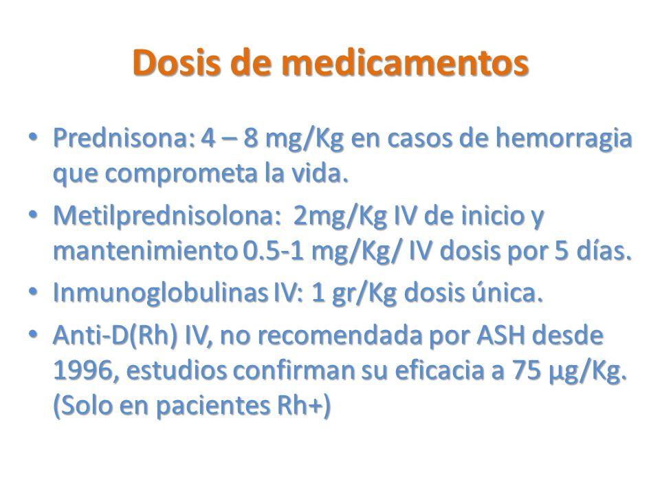 Dosis de medicamentos Prednisona: 4 – 8 mg/Kg en casos de hemorragia que comprometa la vida. Prednisona: 4 – 8 mg/Kg en casos de hemorragia que compro