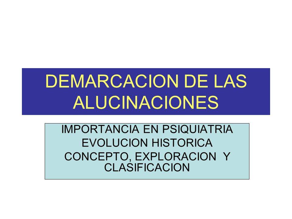 DEMARCACION DE LAS ALUCINACIONES IMPORTANCIA EN PSIQUIATRIA EVOLUCION HISTORICA CONCEPTO, EXPLORACION Y CLASIFICACION