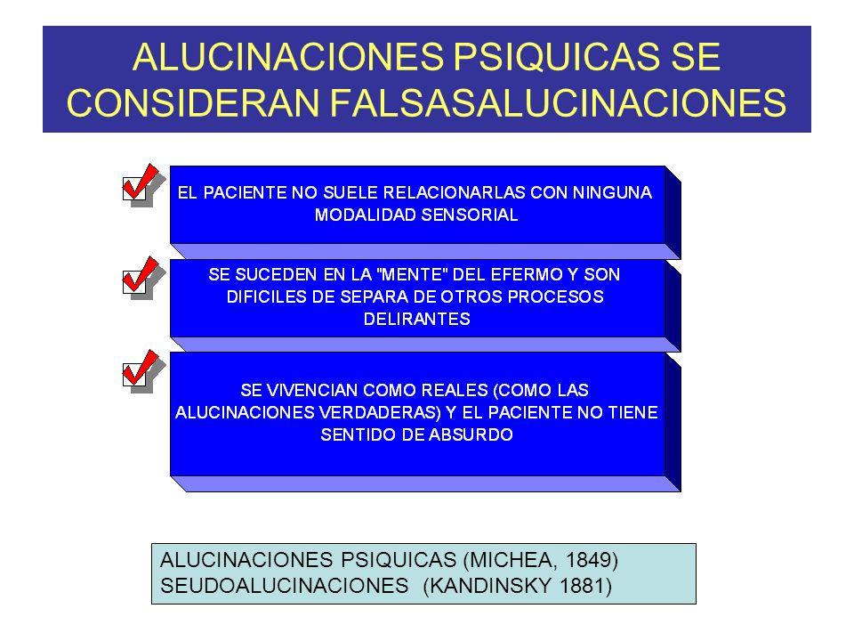 ALUCINACIONES PSIQUICAS SE CONSIDERAN FALSASALUCINACIONES ALUCINACIONES PSIQUICAS (MICHEA, 1849) SEUDOALUCINACIONES (KANDINSKY 1881)