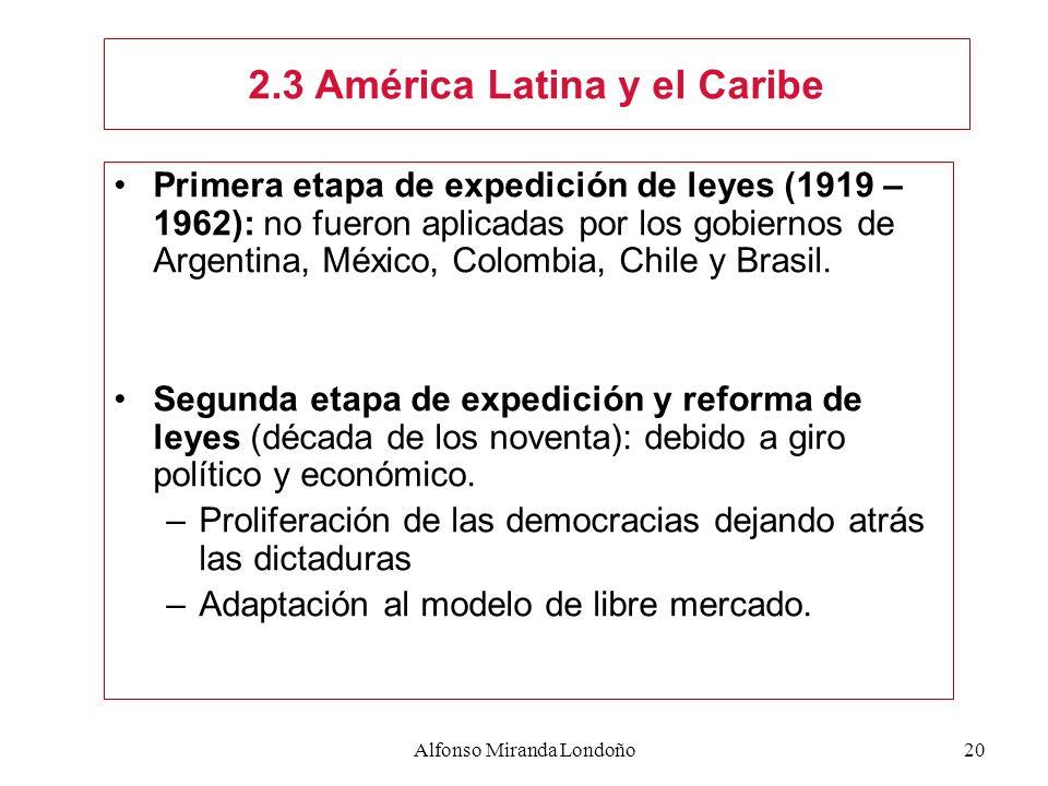 Alfonso Miranda Londoño20 Primera etapa de expedición de leyes (1919 – 1962): no fueron aplicadas por los gobiernos de Argentina, México, Colombia, Ch