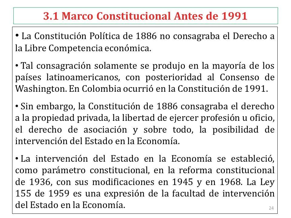 24 3.1 Marco Constitucional Antes de 1991 La Constitución Política de 1886 no consagraba el Derecho a la Libre Competencia económica. Tal consagración