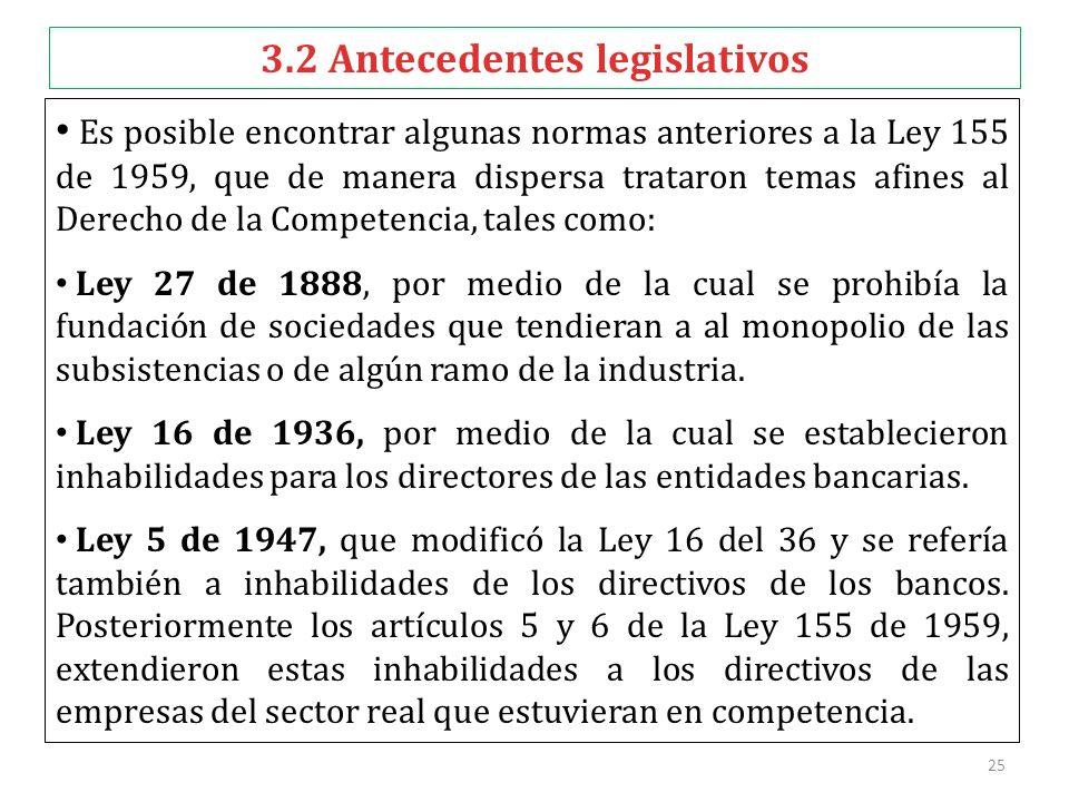 25 3.2 Antecedentes legislativos Es posible encontrar algunas normas anteriores a la Ley 155 de 1959, que de manera dispersa trataron temas afines al