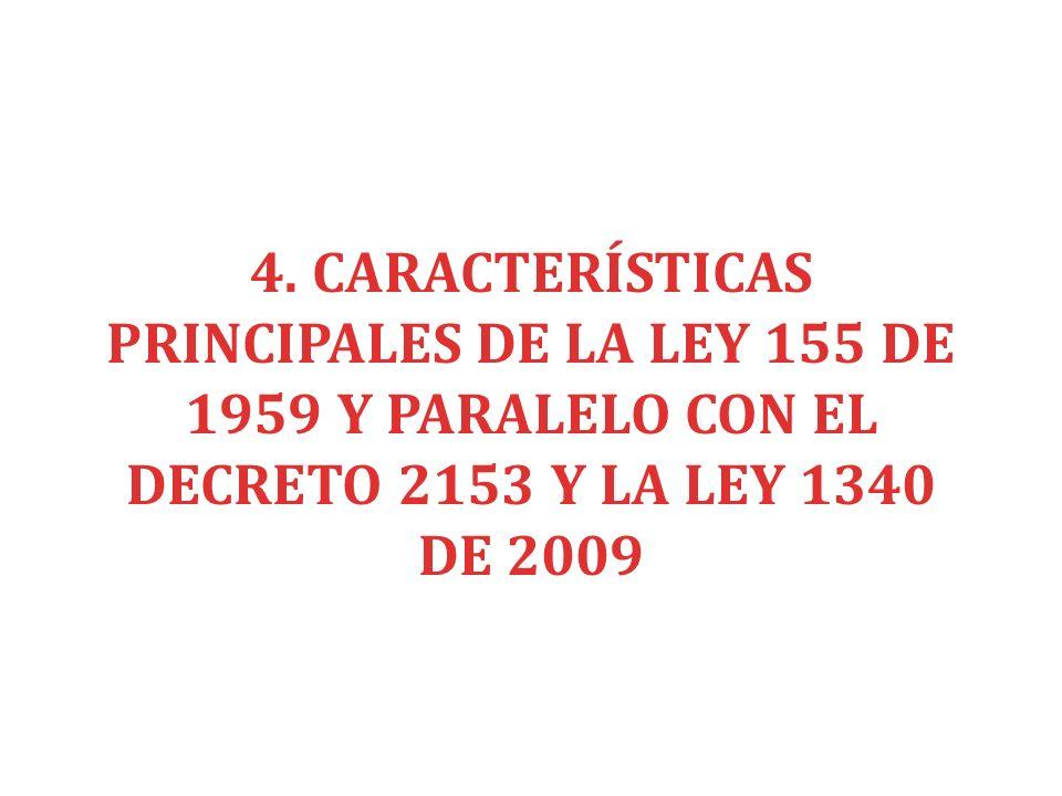 4. CARACTERÍSTICAS PRINCIPALES DE LA LEY 155 DE 1959 Y PARALELO CON EL DECRETO 2153 Y LA LEY 1340 DE 2009