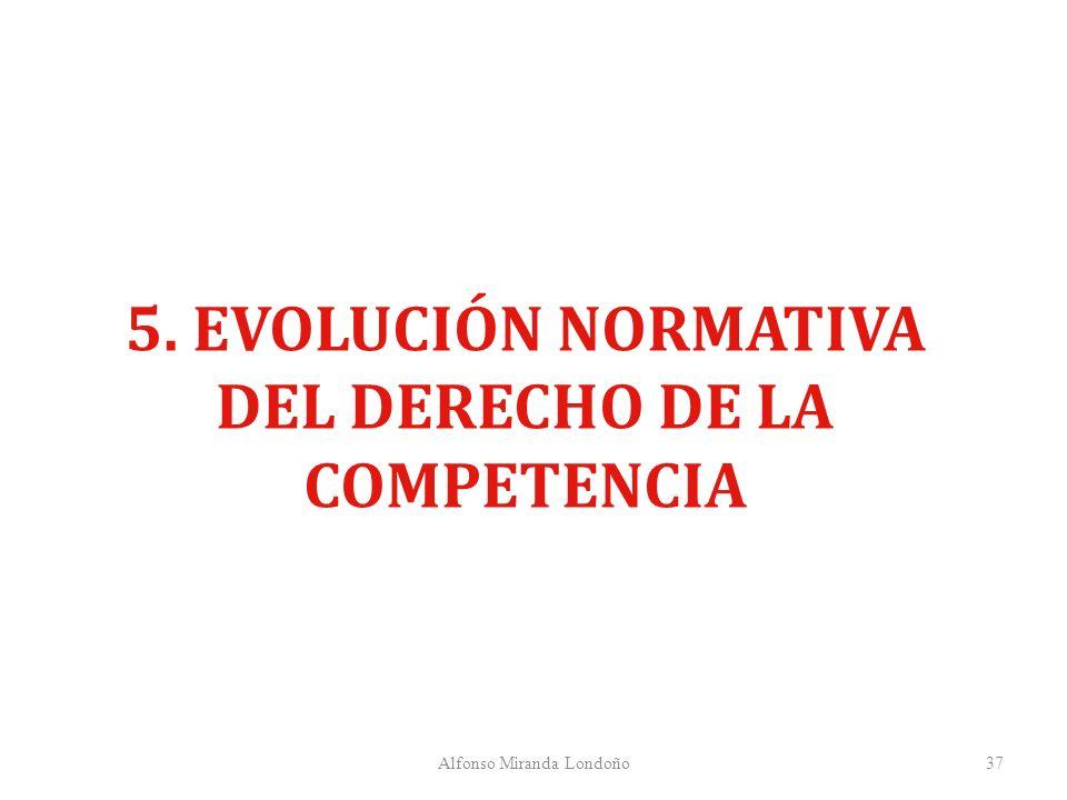 Alfonso Miranda Londoño37 5. EVOLUCIÓN NORMATIVA DEL DERECHO DE LA COMPETENCIA