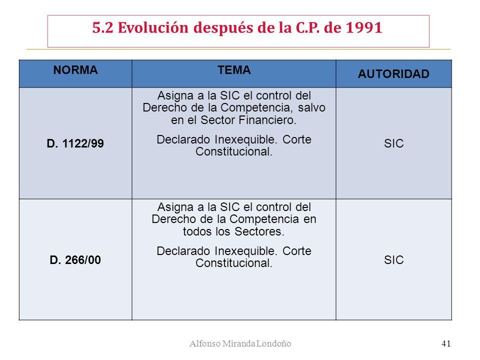 Alfonso Miranda Londoño41 NORMATEMA AUTORIDAD D. 1122/99 Asigna a la SIC el control del Derecho de la Competencia, salvo en el Sector Financiero. Decl