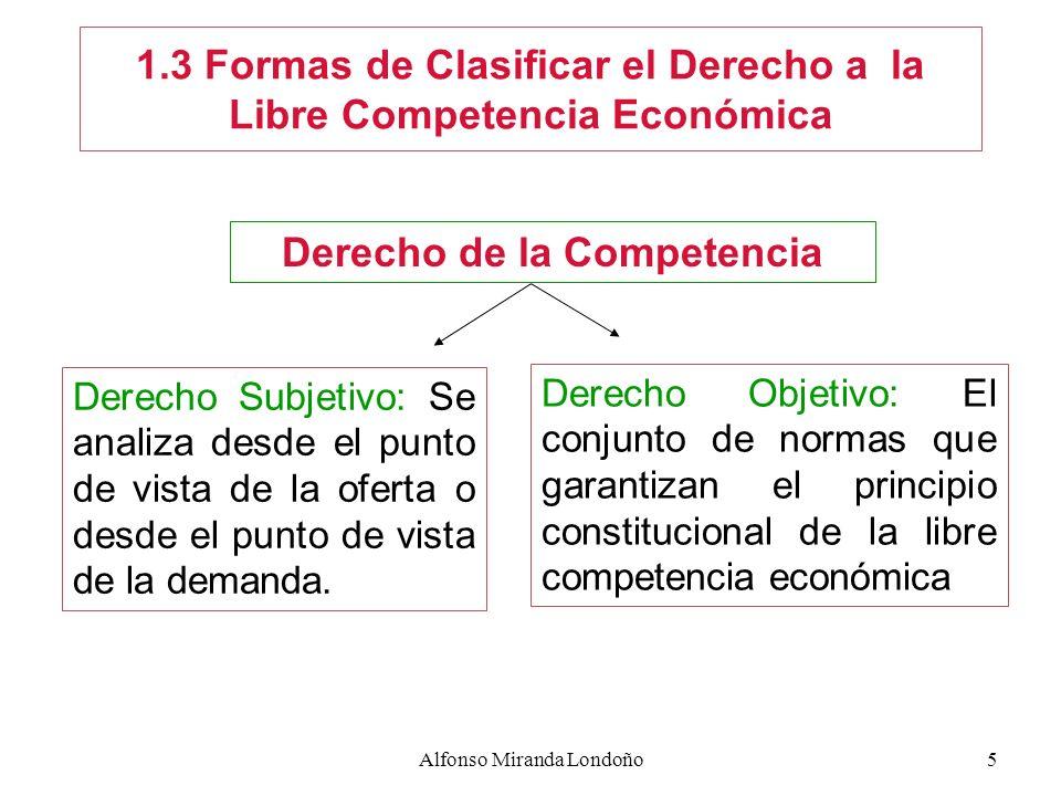 Alfonso Miranda Londoño5 1.3 Formas de Clasificar el Derecho a la Libre Competencia Económica Derecho de la Competencia Derecho Subjetivo: Se analiza