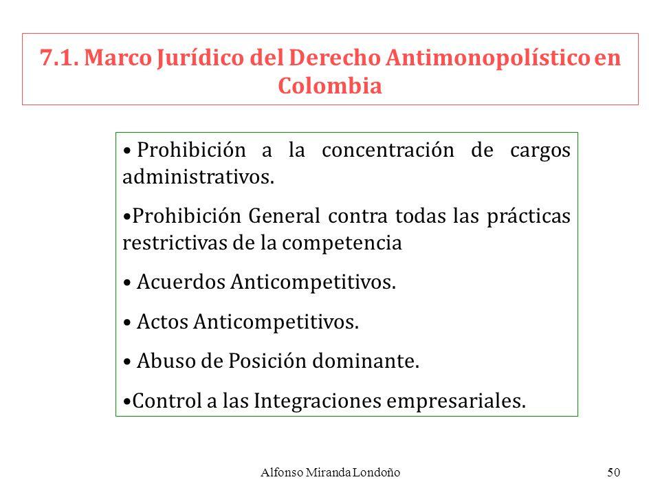 Alfonso Miranda Londoño50 7.1. Marco Jurídico del Derecho Antimonopolístico en Colombia Prohibición a la concentración de cargos administrativos. Proh