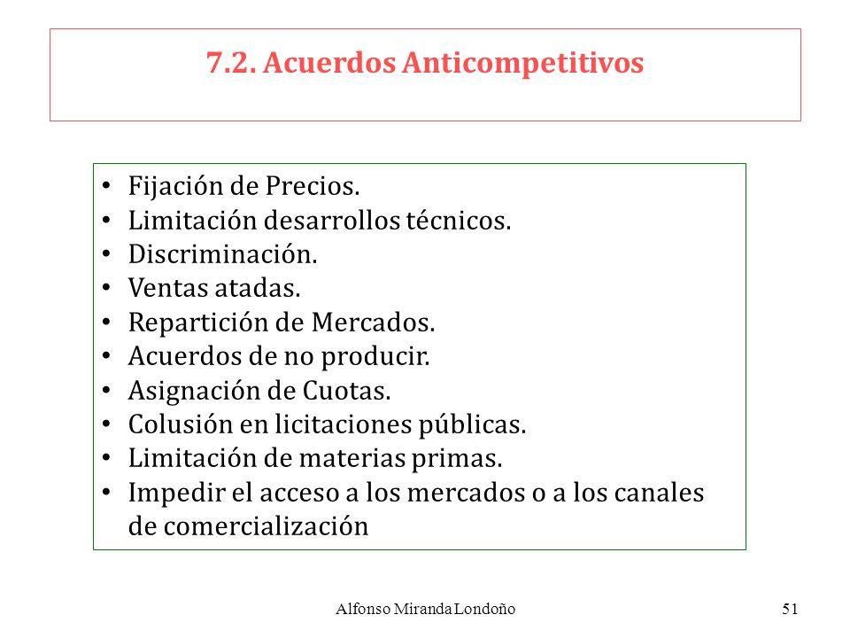 Alfonso Miranda Londoño51 7.2. Acuerdos Anticompetitivos Fijación de Precios. Limitación desarrollos técnicos. Discriminación. Ventas atadas. Repartic